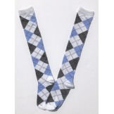 White with blue and gray  argyle kn..