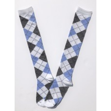 White with blue and gray  argyle knee high socks