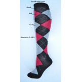 Black with red and gray argyle knee..