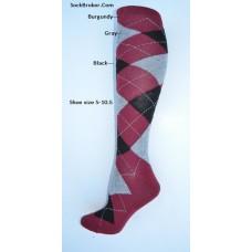 Sz 5-10.5 Burgundy with black and gray knee high argyle socks