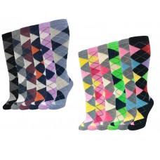 12 Pairs Argyle Knee High Socks Size 5-10