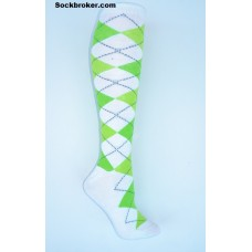 White with lime green argyle knee high socks sz 5-10.5