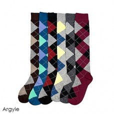 6 Pairs of Assorted Argyle Knee High Socks 5-10.5