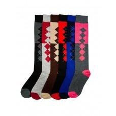 6 Pairs of Assorted Argyle Knee High Socks 5-10.5