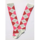 White with red and pink argyle knee..