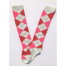 White with red and pink argyle knee high socks sz 5-10.5