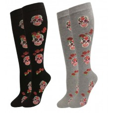 Gothic Skull Red Rose Knee High Socks Sz 6-10