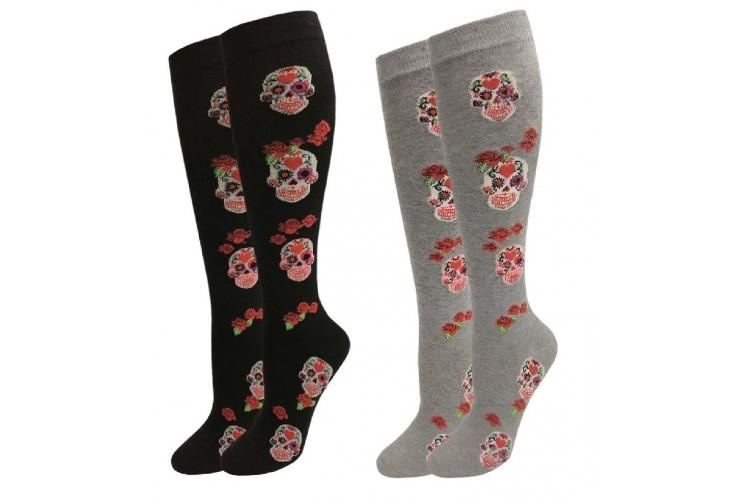 9ed62303a66 Gothic Skull Red Rose Knee High Socks Sz 6-10