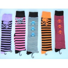 Yellet striped skull knee high socks